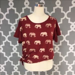 Asymmetrical Oversized Elephant Tie Front Top
